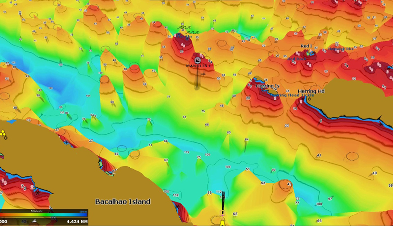 Bathymetric map showing the location and depth of Blowhard Rock, NL