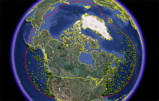 Traffic in Canadian waters using Long Range Identification and Tracking of vessels (LRIT)