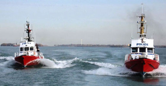 Two Marine Security Enforcement Teams patrol vessels in the Detroit River