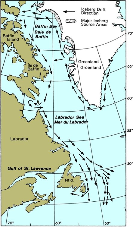 Map of Sources and Main Tracks of Icebergs in Canadian waters