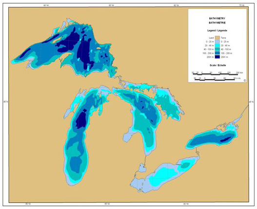 Map of Bathymetry of the Great Lakes (Chart courtesy of Environment Canada)