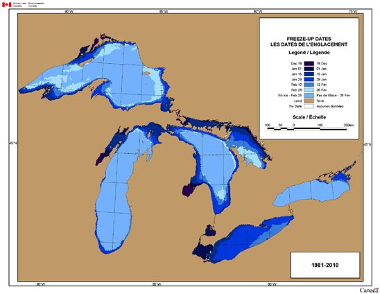 Map of Freeze-up Dates for the Great Lakes