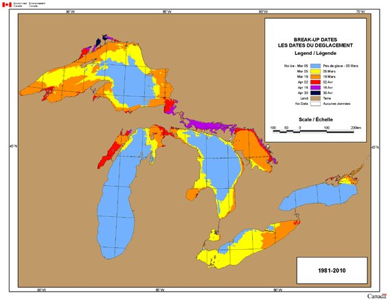 Map of Break-up Dates for the Great Lakes