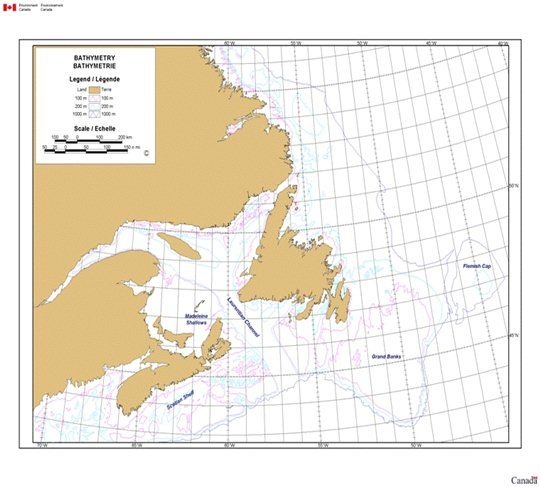 Map of Bathymetry of the East Coast (Chart courtesy of Environment Canada)