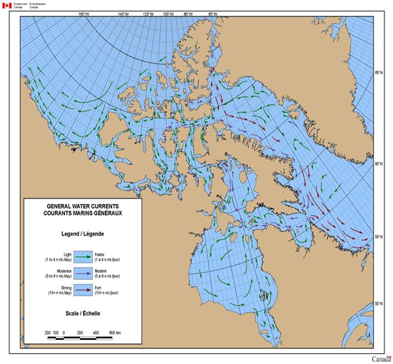 Map of General Water Currents in Northern Waters