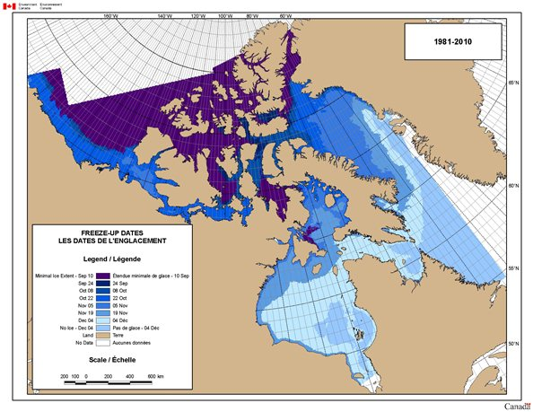 Map of Freeze-Up Dates in the Canadian Arctic