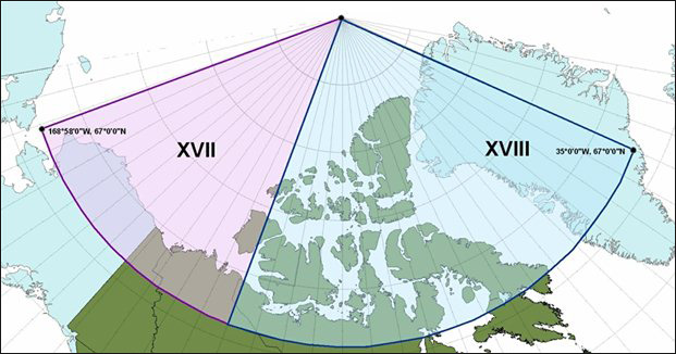 Map of METAREAS and NAVAREAS in the Canadian Arctic