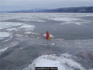 Example of winter buoys (Courtesy of the Canadian Ice Service)