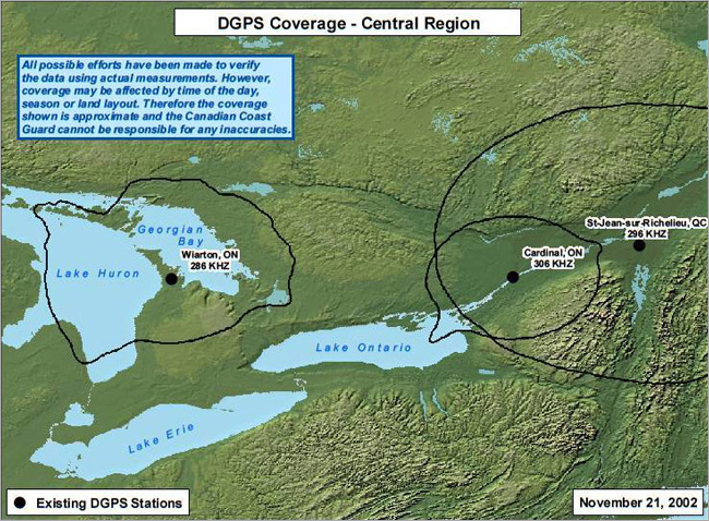 DGPS coverage for the Central Region