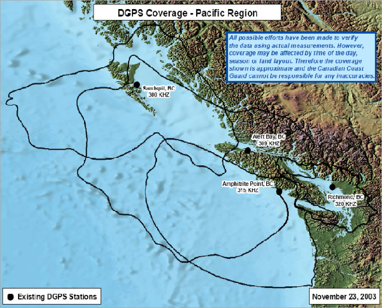 DGPS Coverage - Pacific Region as described in the previous table titled Canadian coast Guard DGPS Broadcasts – Pacific Coast