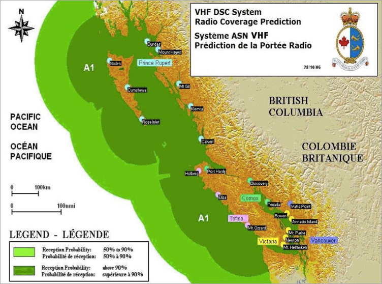 VHF DSC System Radio Coverage Prediction - details described below
